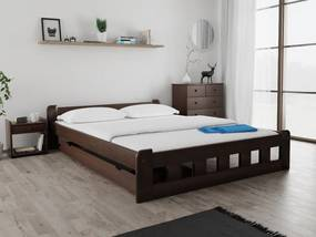 Naomi magasított ágy 160x200 cm, diófa Ágyrács: Deszkás ágyráccsal, Matrac: Deluxe 15 cm matraccal