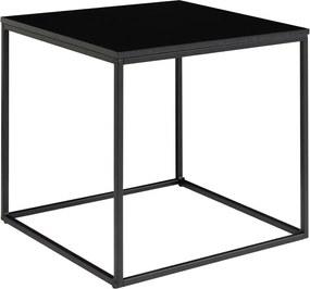 Vita fekete tárolóasztal acél kerettel, 45 x 45 cm - House Nordic