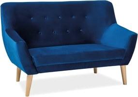 Kétszemélyes kanapé, sötétkék bársony / bükk, NORDIC VELVET