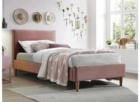 TACOMA Velvet kárpitozott ágy, 90x200x bluvel 52/tölgy