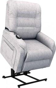 Világosszürke dönthető/emelhető elektromos szövet tv-fotel