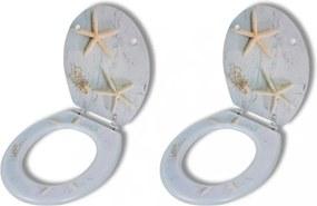 2 db tengeri csillag mintájú wc ülőke gyorsan csukódó fedéllel