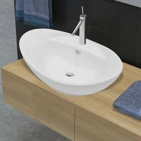 vidaXL Ovális luxus kerámia mosdókagyló túlfolyóval és lyukkal csaphoz