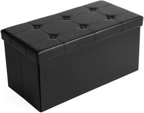 SONGMICS tároló pad, 2 férőhelyes, teherbírás akár 300 kg, műbőr, fekete, 76x38x38 cm