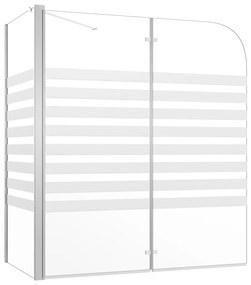 vidaXL átlátszó csíkos edzett üveg kádparaván 120 x 68 x 130 cm