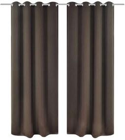 vidaXL 2 db Barna Sötétítő Függöny Fém Karikával 135 x 245 cm