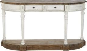 Vintage stílusú fenyő fa konzolasztal elegáns antikolt