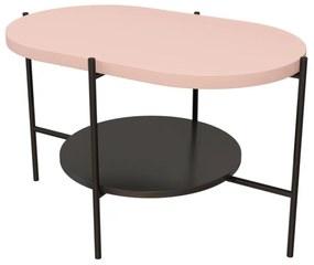 RING dohányzóasztal, 80x76x40, rózsaszín/fekete