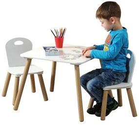 Gyerek bútorkészlet: asztal + 2 szék, fehér szín, Kesper