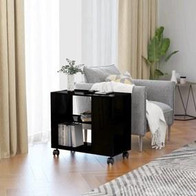 Magasfényű fekete forgácslap tálalóasztal 70 x 35 x 55 cm