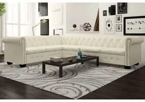 6 személyes fehér műbőr chesterfield sarok kanapé