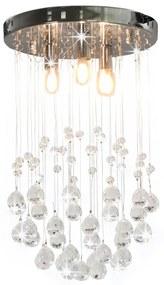 vidaXL ezüstszínű gömb alakú mennyezeti lámpa kristálygyöngyökkel 3xG9