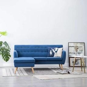 L-alakú kék szövetkanapé 171,5 x 138 x 81,5 cm