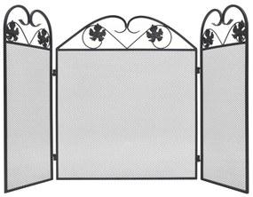vidaXL fekete vas 3-paneles kandallórács