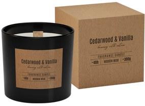 Illatgyertya üvegpohárban, fa kanóccal, Cedarwood Vanilla 300 g, 11 cm