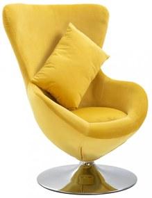 Sárga tojás alakú bársony forgószék párnával