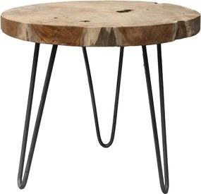 Helen tárolóasztal teakfa asztallappal, ø 55 cm - HSM collection
