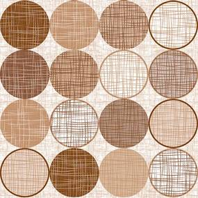 Viaszosvászon asztalterítő-Prémium minőség - 140x300 cm - (bézs karika)