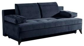 2 személyes ágyazható kanapé, ágyneműtartós, sötétkék - BONTON