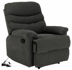 Állítható masszázs fotel, szürke bársony anyag, LAMBERT