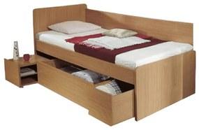 Ágy ágyneműtartóval, bükk, 90x200 cm, OTO