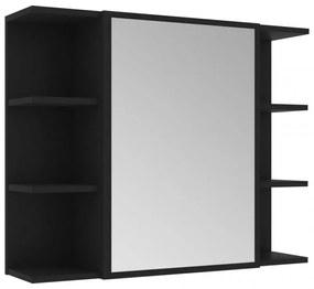 Fekete forgácslap fürdőszobai tükör 80 x 20,5 x 64 cm