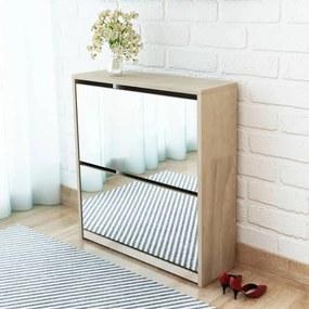 2 szintes tölgyfa cipőszekrény tükörrel 63 x 17 x 67 cm
