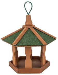 Felakasztható madáretető, vízálló kartontető, kezelt fenyőfa,