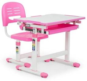 Annika gyerek íróasztal, kétrészes készlet, asztal, szék, állítható magasságú, rózsaszín
