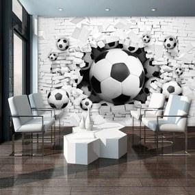 Fotótapéta - 3D-s futball egy téglafalban (254x184 cm)