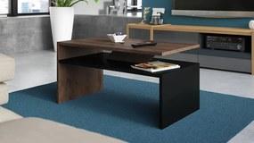 PRIMA barna tölgy / fekete, dohányzóasztal
