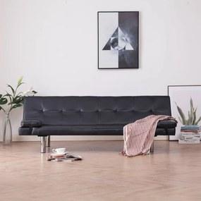 Barna műbőr kanapéágy két párnával