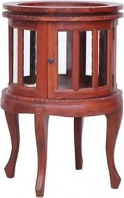 Barna tömör mahagóni vitrinszekrény 50 x 50 x 76 cm
