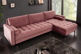 Sarok kanapé Cozy Velvet 260cm rózsaszín