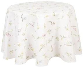 Kerek pamut asztalterítő nyári virág mintás