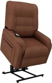 Barna dönthető/emelhető elektromos szövet tv-fotel