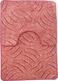 Panna 2db-os fürdőszoba szett - Mályva színben karmolt mintával