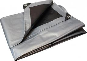 Takaró ponyva szürke - fekete 2x2 m 260 g/m2