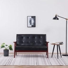 vidaXL kétszemélyes fekete műbőr kanapé
