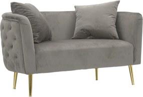BUCAREST szürke és arany bársony kanapé