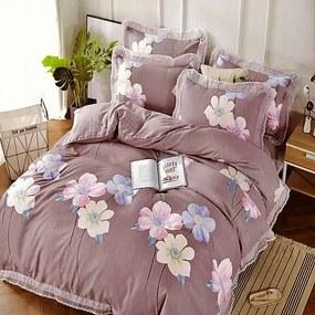 mályva színben színes virágok pamut ágyneműhzat