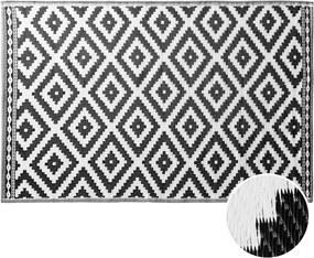 COLOUR CLASH kül- és beltéri szőnyeg fekete/fehér rombusz mintás 150x180cm