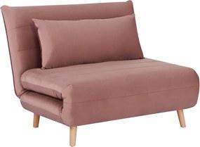 Rózsaszín kinyitható fotel SPIKE VELVET