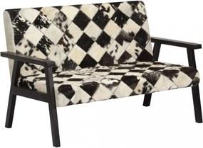 Fekete-fehér kétszemélyes valódi kecskebőr kanapé