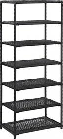Fekete polyrattan cipőpolc 50 x 30 x 120 cm