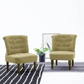 2 db zöld szövetkárpitozású francia szék