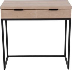 Cara 2 fiókos kőrisfa konzolasztal fém szerkezettel, hossz 80 cm - Canett