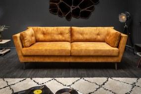 MARVELOUS design bársony kanapé - okker