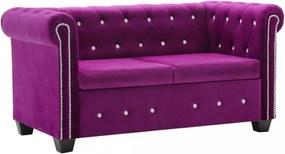 Bordó 2 személyes bársony Chesterfield kanapé 146 x 75 x 72 cm