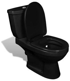 vidaXL fekete WC tartállyal